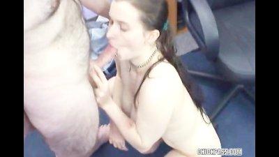 Brunette Kathy sucks some strangers stiff cock