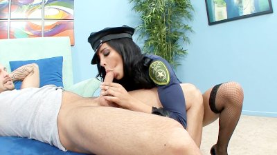 Uniformed babe sex in fishnet stockings and heels