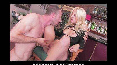 Natural blonde model is fingered and fucked on top of the bar