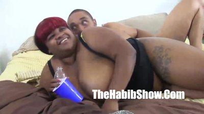 Balloon titty black girl gets