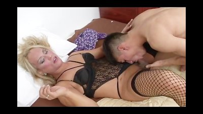 Blonde Tranny in Fishnets Gets Ass Fucked Hard