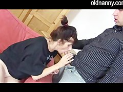 Hot granny meets horny young girl in the kitchen