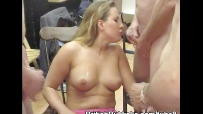 Two busty ladies service guys by cocksucking
