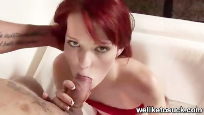 redhead giving blowjob