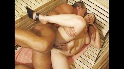 Crossage fucking in a sauna