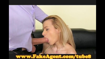 FakeAgent Shy blonde takes big dick in casting