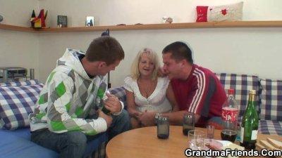 Partying guys nail blonde gran