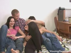 Young Sex Parties - Cultural walk turns into dirty foursome fuck