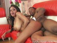 Ebony girl with big natural tits fucked