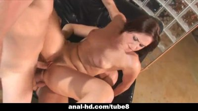 Sexy brunette takes on two coc
