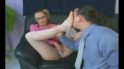 Cutie with glasses fucking in sheer pantyhose