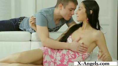 She rides his hard dick and lets him fuck her