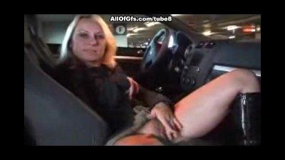 Masturbation with dildo toy in the car