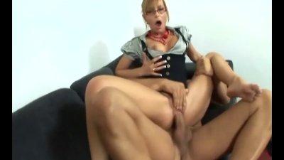 Skinny secretary with nice legs getting fucked