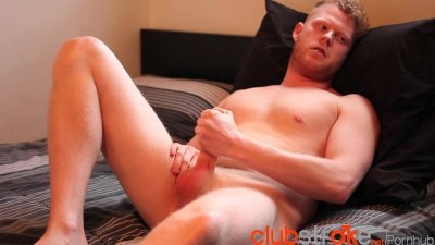 Cooper Roads yanks his large cock part 1