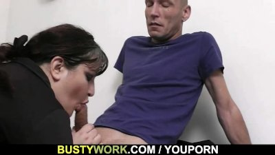 Huge titted secretary pleases