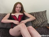 Geeky Red Head Teen with Big Nipples