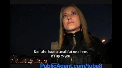 PublicAgent Blonde amateur model in underwear fucked in apartment
