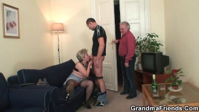 Nasty granny takes two cocks at once