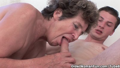 Cock hungry grandma loves anal