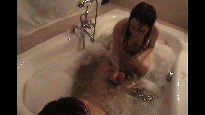 Racy bubble bath sex time!