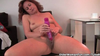 Granny fucks her hairy and swo
