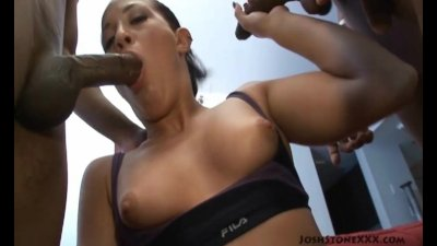 Amateur Teen Fucks 2 Big Black Cocks as BF Films It