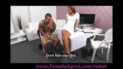FemaleAgent. Sexy stud disappoints beautiful agent