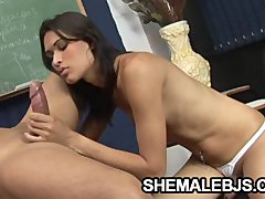 Renatinha   Skinny Shemale Teacher Sucking Her Student