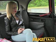 FakeTaxi Big red blowjob lips and fake big tits