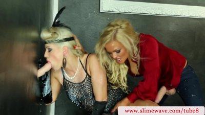 Bukkake lesbians using strapon at the gloryhole