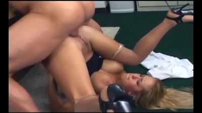 Busty office babe fucking in nude nylons and heels