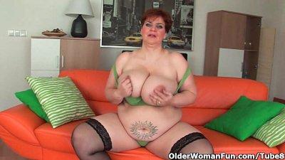 Aged BBW with massive boobs fu