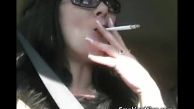 Brunette babe smoking sexy