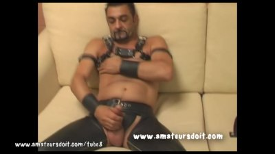 Lewis Dons His Leather Gear For His Solo Jerk Off