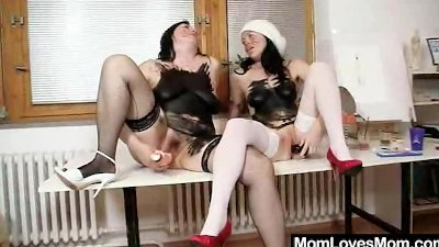 Madam brunettes fuck their pus