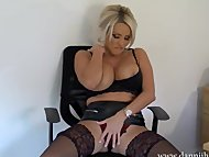 Hot dirty talking secretary Dannii Harwood strips off and wanks