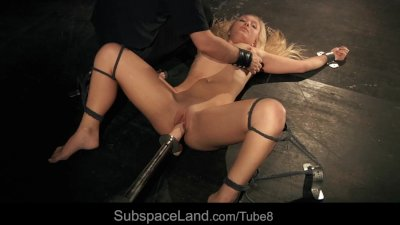 Orgasm and pain for a submissive blonde slut