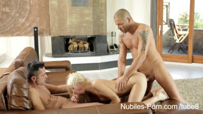 Nubiles Porn - Anal spit roast for cum hungry coed