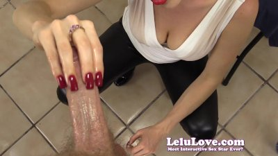 Lelu Love-Red Nails CFNM Handjob Cumshot