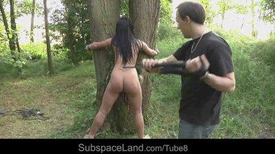 Привязал к ветке дерева и выебал жену бруса