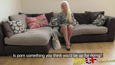 FakeAgentUK Multiple orgasms from petite blonde on casting couch