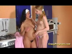 Preview 4 of Busty Lesbian Pregnant Teen Kisses