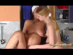 Preview 8 of Busty Lesbian Pregnant Teen Kisses