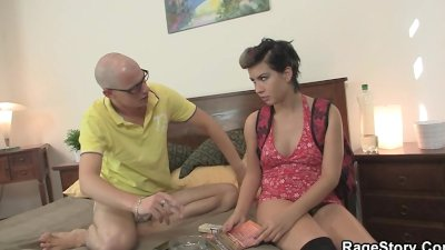Teen cutie takes it rough on the bed