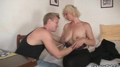 Blonde allows him drill her old snatch