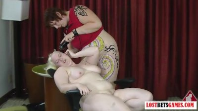 Two bigger girls play strip ga