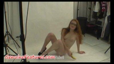Backstage video with czech redhead newbie