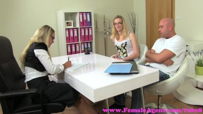 FemaleAgent. MILF fucks hot girls boyfriend in front of her on casting