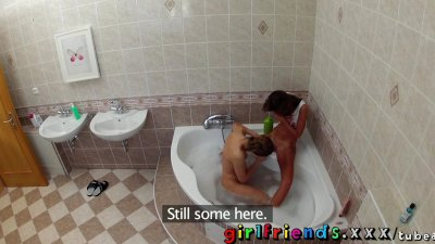 Girlfriends wash hair in bath and make hot pussy eating sextape